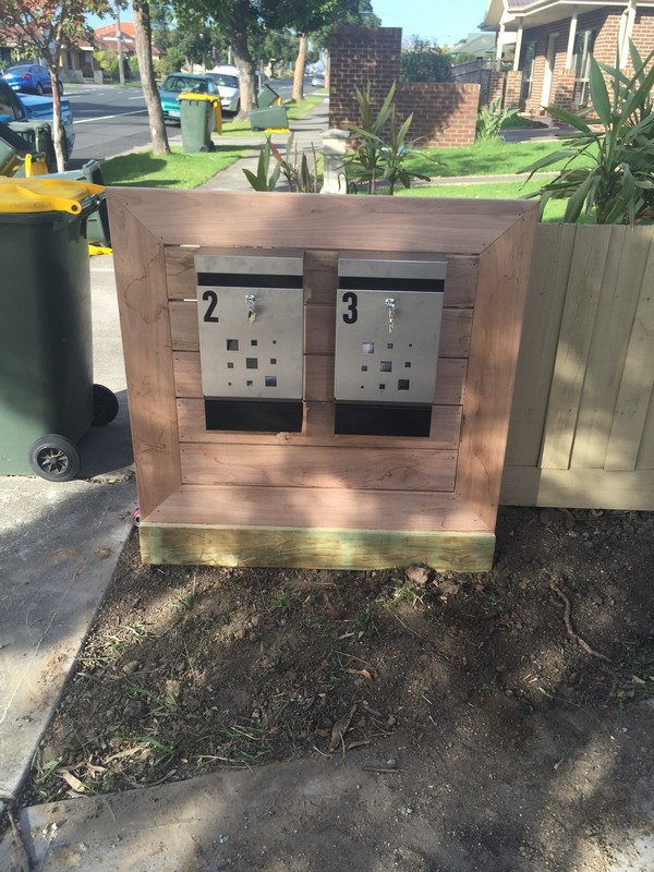 timber slatted mail boxes
