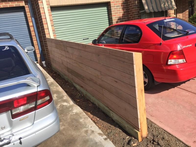 timber slatted side fence