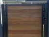 steel framed gate with timber slats