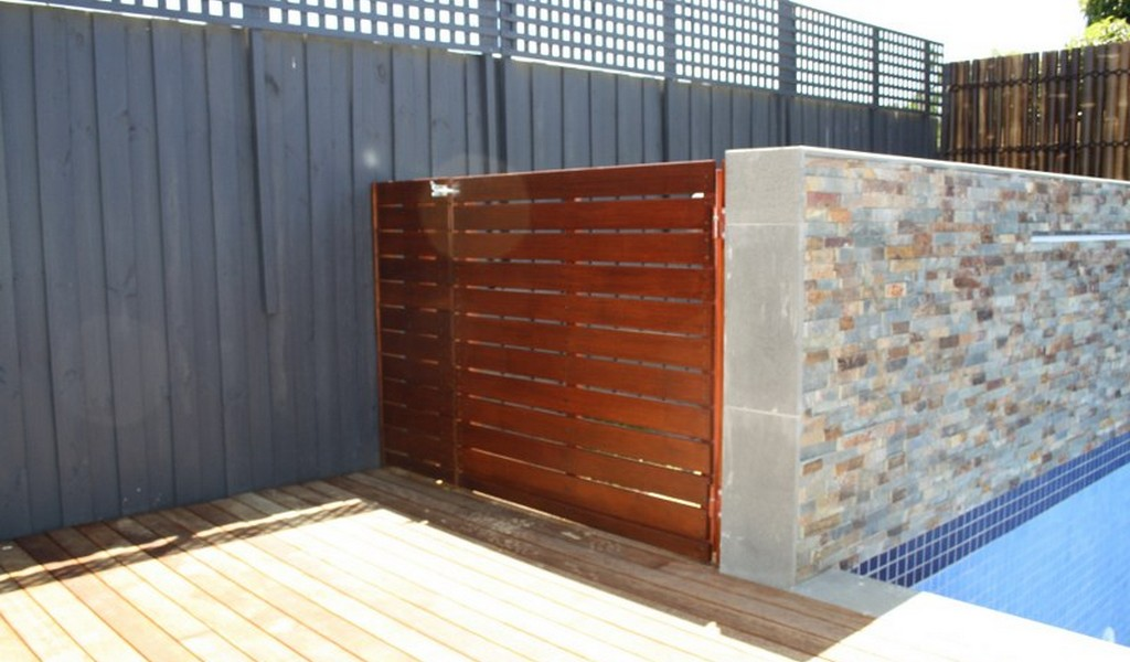 timber slat pool gate